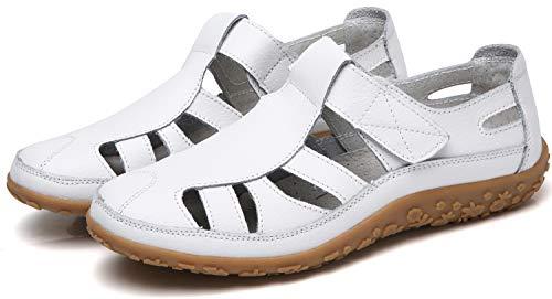 Geschlossene Sandalen Damen Flache Sommer Schuhe Bequeme Leder Sandaletten 2019 -