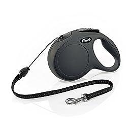 Flexi Roll-Leine New Classic M Seil 8 m schwarz für Hunde bis max. 20 kg