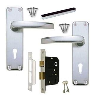 Aluminium SAA Lever Lock Door Handles +3 Lever 64mm Sash Lock Set 2 keys
