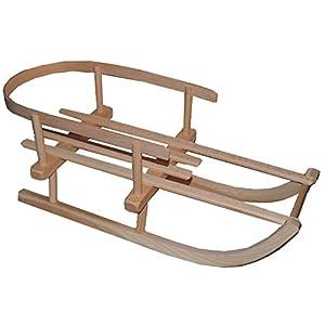 alles-meine.de GmbH Puppenschlitten / Kleiner Schlitten – mit Rückenlehne – aus stabilen Holz – universal passend – Davoser – Davos / Hörnerrodel / Hörnerschlitten – Holzschlitte..