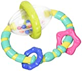 Colorful spinning rattle develops hand/eye coordination., Oval shaped handle has teethable textures., 3 textured links slide and rattle., Teething relief.