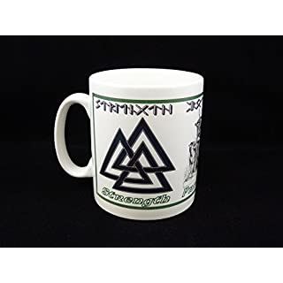 Viking RUNE Mug with VALKNUT Symbol, your Name or Message in RUNES!!