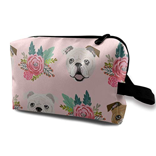 Rolling Organizer Duffel (English Bulldog Pink Florals Portable Travel Makeup Cosmetic Bags Organizer Multifunction Case Toiletry Bags)