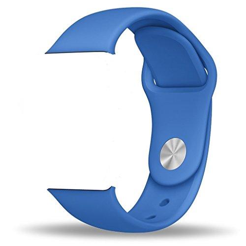 ZRO Smart Watch Correa, Silicona Suave Reemplazo de Banda Sport Band para Apple iWatch Serie 2/ Serie 1 42mm S/M, Azul Real