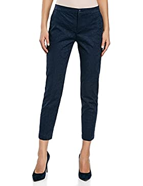 oodji Collection Mujer Pantalones Ajustados de Jacquard