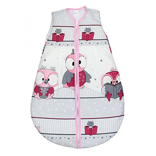 TupTam Babyschlafsack Wattiert ohne Ärmel ANK002, Farbe: Vögelchen Rosa, Größe: 104-110