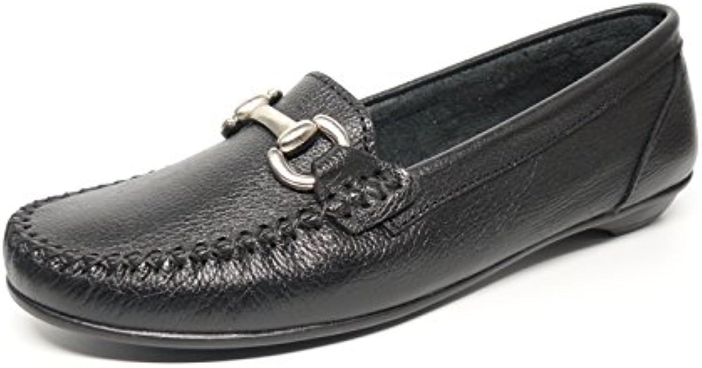 Zapato mujer casual mocasin marca DELTELL en piel color negro adorno estribo metal 211 - 3