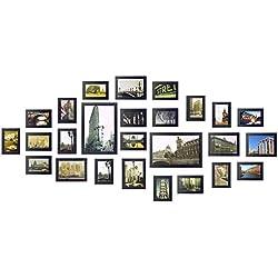 Yorbay Cadre Photo Mural Ensemble de 26 pièces Set 10x15cm, 13x18cm, 20x30cm - Décoration de la Maison Cadeau Mariage, Anniversaire (Upgrade Noir)