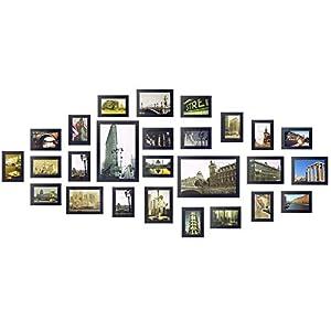 Yorbay Bilderrahmen 26er Set aus Holz Fotorahmen19 STK. 10x15cm, 5 STK. 13x18cm, 2Stk. 20x30cm aus Plexiglas Foto Collage, mit 3 häufigsten 1:1 Installationsvorlage und Bildabdeckung, Holz (Schwarz)