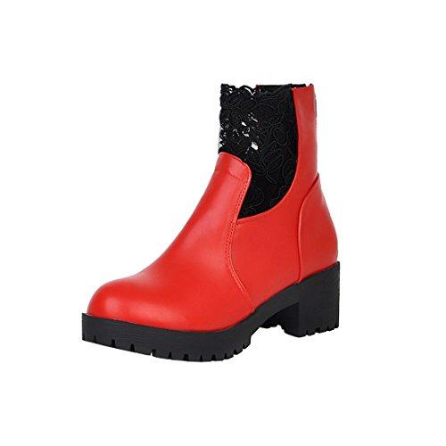 Lhiver Femmes Cheville avec Fermeture Rouge Talons Bout Lace Chaussures pour Bottines Rond Carre Eclair Dentelle à Retour de UH 1BTwddq