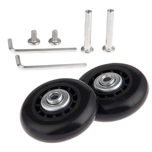 Juego de 2 ruedas de maleta (60x 18mm) de repuesto, con ejes, rodamientos y llaves