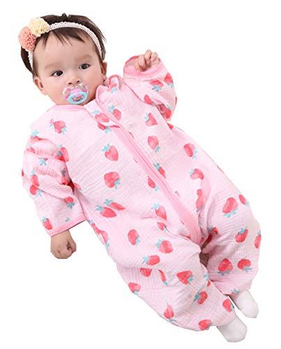 afsack mit Füßen Sommer Kleine Kinder Ärmellos Schlafanzug 0.5 Tog Kind Sommerschlafsack Strampler für Jungen und Mädchen, Erdbeere, XL/Baby Hoehe 95-105cm ()