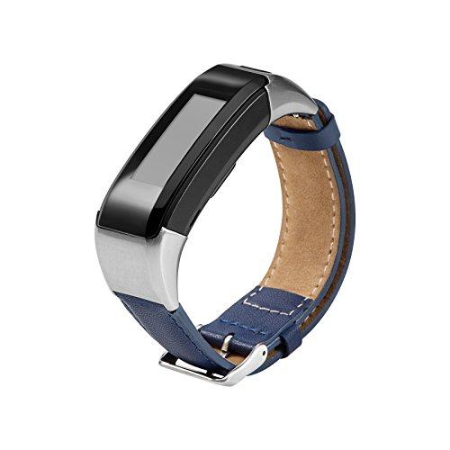 Armband für Garmin Vivosmart HR Watch, Leder Handgelenk Uhrenarmbänder Fitness Sport Ersatz Uhrband Wechselarmbänder für Garmin Vivosmart HR Smartwatch (navy) (Navy Leder Uhrenarmband)