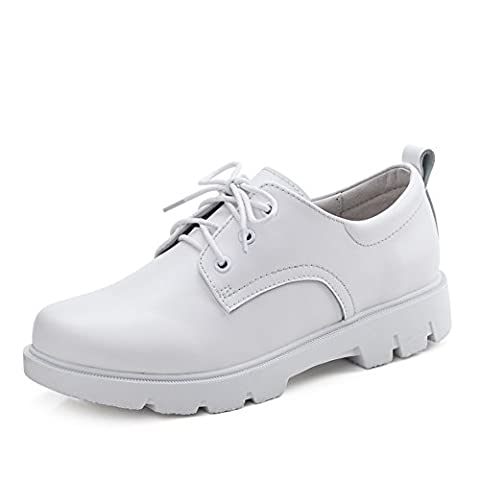 Springs Little White Shoes,Jurchen Leather Casual Shoes,Thick-soled Flat Shoes,British Wind