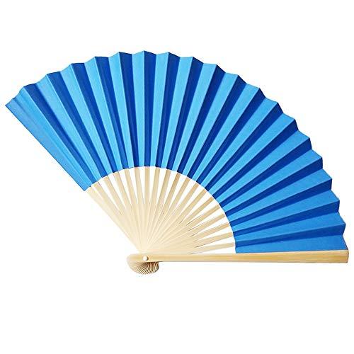 Kviklo Handfächer Folding Papierfächer Fächer Handfächerhold Bambus Orientalisch Chinesisch/Japanisch Tanz Hochzeit Kostümdekoration(Blau,23cm)