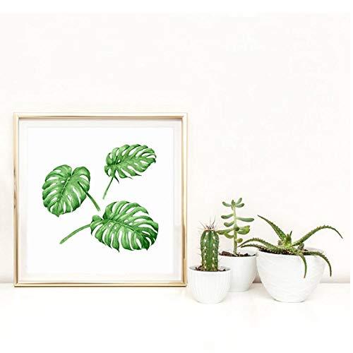 Rjunjie Aquarell Tropische Pflanze Blatt Leinwand Kunstdruck quadratisches Plakat, Tropische Pflanze Blatt Wandbilder für Hauptdekoration Wand Dekor 50x50 cm kein Rahmen