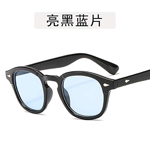Yangjing-hl Sonnenbrillen für Herren und Damen mit rundem Gestell aus Ozeanbrillen in leuchtendem Schwarz und Blau