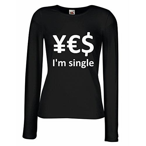 Weibliche Langen Ärmeln T-Shirt Yes, I\'m Single! (Small Schwarz Weiß)
