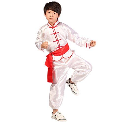 XFentech Mädchen Junge Unisex Kinder Kung Fu Anzug Tai Chi Anzug Shaolin Einfarbig Kampfsportanzug Tanzkostüme