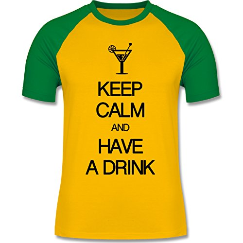 Keep calm - Keep calm and have a drink - zweifarbiges Baseballshirt für Männer Gelb/Grün