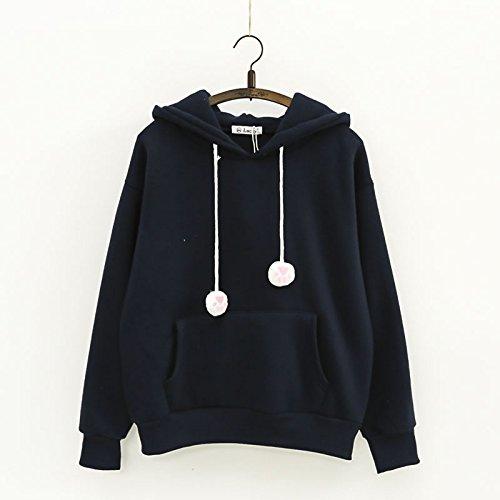 Malilove Neue Stickerei Kordelzug Nette Mädchen Plus Pure Cashmere Pullover F-Code Mit Kapuze Tibet Marine