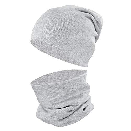 TupTam Unisex Kinder Beanie Mütze Schlauchschal Set Uni, Farbe: Grau Meliert, Größe: 38-44 cm