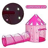 ACTNOW Tienda campaña Infantil Luminosa con túnel para niños/Castillo con Estrellas Luminosas en la Oscuridad