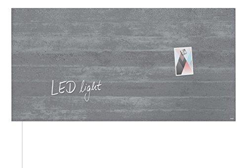 Sigel GL406 Glas-Magnetboard/Magnettafel artverum mit LED-Beleuchtung, Sichtbeton, 91 x 46 cm