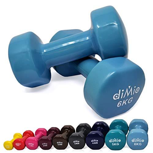 diMio 6,0 kg Vinyl Gymnastik Hanteln im Doppelpack, Soft-Grip, für Fitness, Ausdauertraining und Muskelaufbau