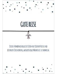 Glücks - Armband GUTE REISE mit Flugzeug versilbert, elastischem Textilband in verschiedenen Farben und liebevoller Karte