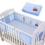 Upgrow Baby Bettumrandung Baby Bettumfang Kinderbett Baby Krippe Nestchen Kantenschutz Kopfschutz für Baby und Kleinkind(hellblau)