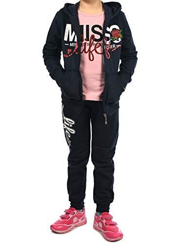 Kinder Mädchen Sport-Anzug Sweat-Jacke Pullover Langarm-Shirt Freizeit-Hose (3 TLG. Set) 30018 Navy (Regen Anzug Kostüm)