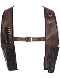 Veste harnais imitation cuir marron avec sangle, cartouchière et holster, steampunk RQBL