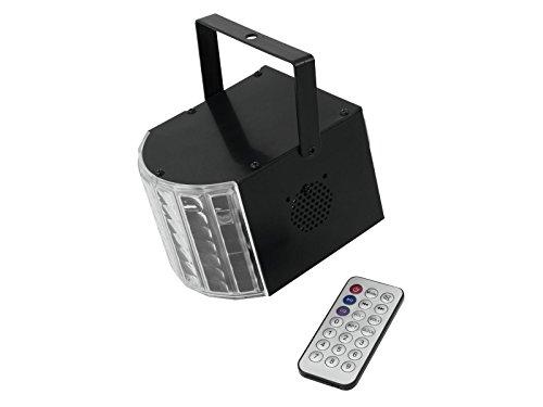 Eurolite LED Mini D-4 Strahleneffekt MP3 | Effekt mit 6 x 1-W-LED in RGBAW & Lila, Lautsprecher und MP3-Player | Kombigerät | Mit Fernbedienung