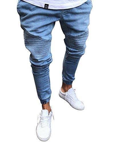 Uomo jeans a vita alta slim fit pantaloni con elastico alla caviglia blu s