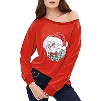 Stilvolle Bluse,HUYURI Frauen Langarm Weihnachtskätzchen Print Lose Tops