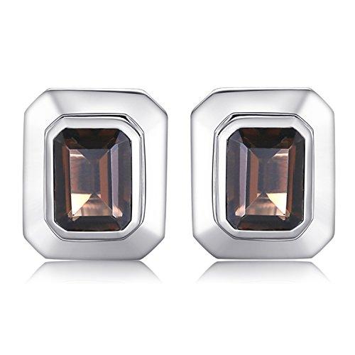 JewelryPalace Herren 4ct Natürliche Smoky Quartz Manschettenknöpfe Echt 925 Sterling Silber