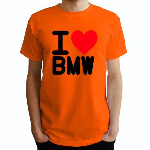 I love Bmw Herren T-Shirt Orange