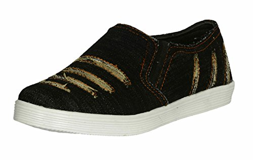 Red Rose Men's Black Denim Loafer Shoes (9, Black)  available at amazon for Rs.199