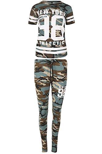 Be Jealous Damen Armee Tarnung New York 98 Athletic Sport Streifen gedruckt Joggen Trainingsanzug Khaki Armee