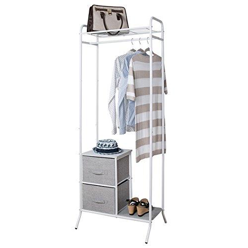 mDesign Organizadores de armarios con barra para colgar ropa - Sirve como armario abierto o como interior de armario o vestidor - Interiores de armario con 2 cajones para corredor o dormitorio - gris