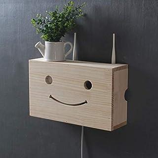 KATLY Holzregale WiFi Router Lagerung Regal Wandschrank Storage Rack Set Top Box Kabelbox Büromöbel Ständer Nicht gestanzt Schwimmdock,A