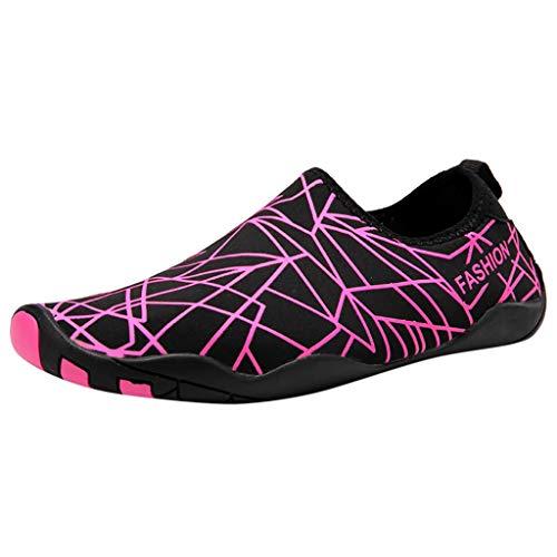 Fenverk Sommer Aqua Schuhe Barfuß Weich Wassersport Yoga Strandschuhe Schwimmschuhe Surfschuhe FüR Damen Herren Badeschuhe Wasserschuhe Aquaschuhe rutschfeste(Hot Pink,35 EU) -