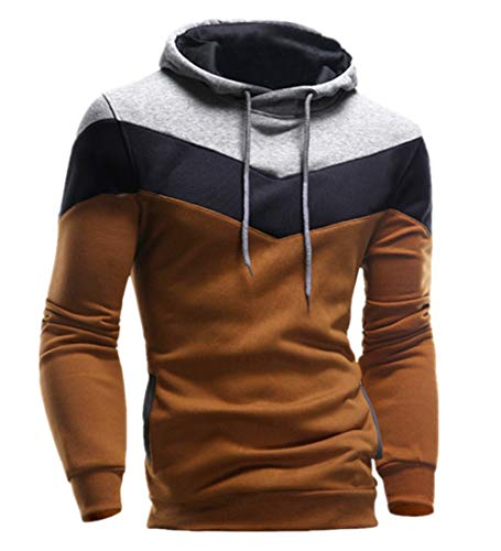 KPILP Männer Übergröße Herbst Winter Retro Patchwork Langarm-Shirt Hoodie Sweatshirt Oberteile Jacke Mantel Outwear(Kaffee, 3XL)