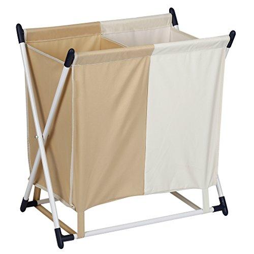 Finether Wäschesammler Wäschesortierer Wäschebehälter Wäschekorb mit 2-Fächer abnehmbarem Wäschesack zum Sortieren der Wäsche faltbar groß