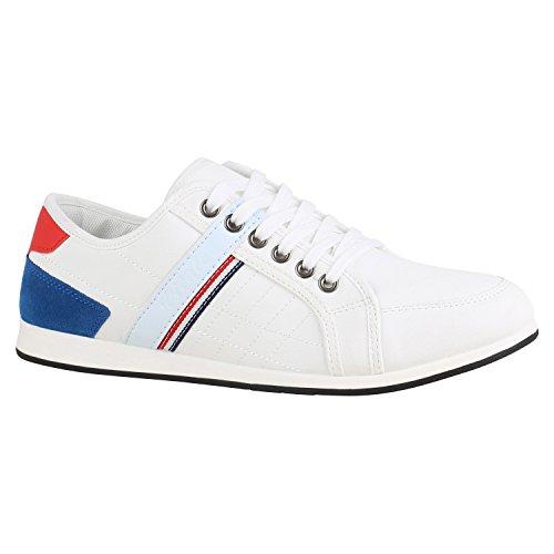 Herren Schuhe Sneakers Leder-Optik Schnürer Sportschuhe 155887 Weiss Blau Rot 41 Flandell