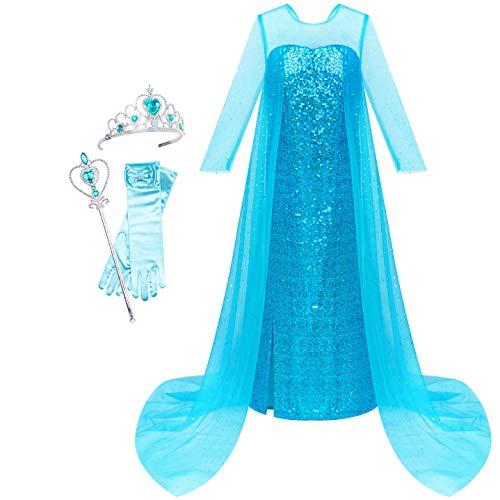 eid Prinzessin Kleid ELSA Kostüme Zauberstab Krone Gr. 116 122 ()