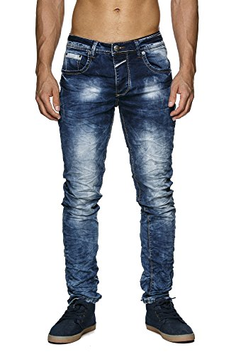 MEGASTYL Herren Hose Stone-Washed Jeans Königs-Blau Slim-Fit 5-Pocket Jogg-Denim, GRÖSSE:W29 / L32 (Stonewashed Denim-stoff)