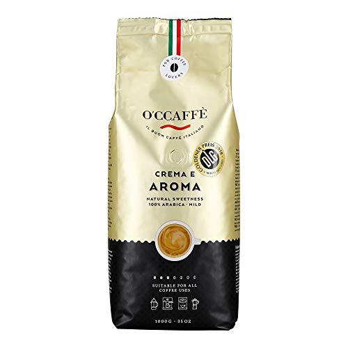 O\'ccaffe Caffè 100{67e63e6ec447e06322a16c5f950237d6a6635f1bb459a5b5ad87067395451130} Arabica | torrefazione extra delicata | dall\'azienda di famiglia italiana | carattere adorabile e complesso da 3 varietà di fagioli | 1kg chicchi di caffè