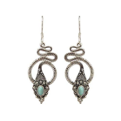 Shadi, étnico - Pendientes de plata de ley con turquesas (joyería de
